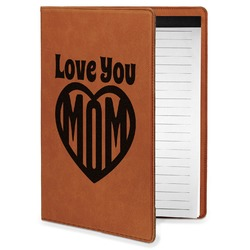 Love You Mom Leatherette Portfolio with Notepad - Small - Single Sided