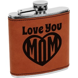 Love You Mom Leatherette Wrapped Stainless Steel Flask