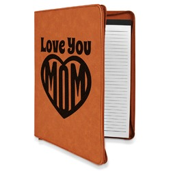 Love You Mom Leatherette Zipper Portfolio with Notepad