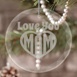 Love You Mom Engraved Glass Ornament