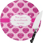 Love You Mom Round Glass Cutting Board