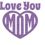 Love You Mom Glitter Sticker Decal - Custom Sized