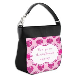 Love You Mom Hobo Purse w/ Genuine Leather Trim