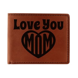 Love You Mom Leatherette Bifold Wallet - Single Sided
