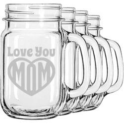 Love You Mom Mason Jar Mugs (Set of 4)