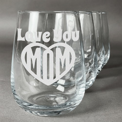 Love You Mom Wine Glasses (Stemless- Set of 4)