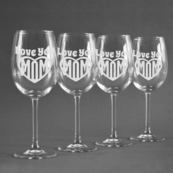 Love You Mom Wine Glasses (Set of 4)