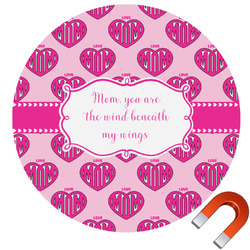 Love You Mom Round Car Magnet