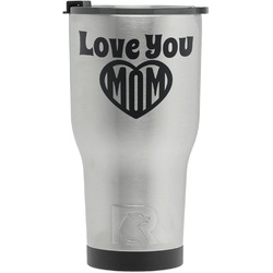 Love You Mom RTIC Tumbler - Silver - Engraved Front