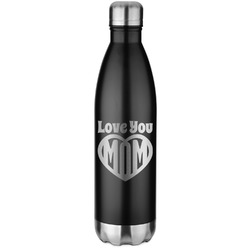 Love You Mom Black Water Bottle - 26 oz. Stainless Steel
