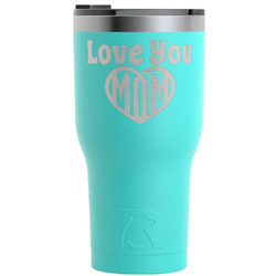 Love You Mom RTIC Tumbler - Teal - Engraved Front