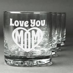 Love You Mom Whiskey Glasses (Set of 4)