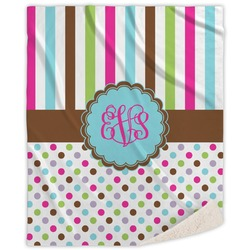 Stripes & Dots Sherpa Throw Blanket (Personalized)