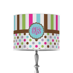 """Stripes & Dots 8"""" Drum Lamp Shade - Poly-film (Personalized)"""