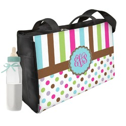 Stripes & Dots Diaper Bag w/ Monogram