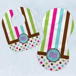 Stripes & Dots Baby Bib & Burp Set w/ Monogram