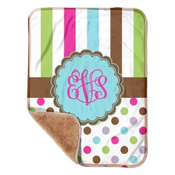 """Stripes & Dots Sherpa Baby Blanket 30"""" x 40"""" (Personalized)"""