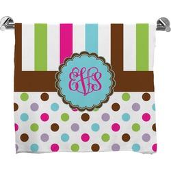 Stripes & Dots Full Print Bath Towel (Personalized)
