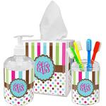 Stripes & Dots Acrylic Bathroom Accessories Set w/ Monogram