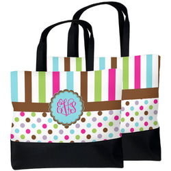 Stripes & Dots Beach Tote Bag (Personalized)