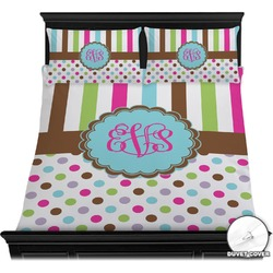 Stripes & Dots Duvet Cover Set - Full / Queen (Personalized)