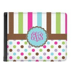 Stripes & Dots Genuine Leather Men's Bi-fold Wallet (Personalized)