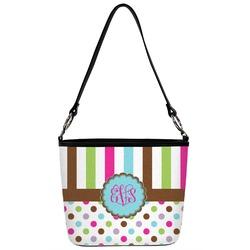 Stripes & Dots Bucket Bag w/ Genuine Leather Trim (Personalized)