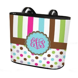 Stripes & Dots Bucket Tote w/ Genuine Leather Trim (Personalized)