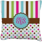 Stripes & Dots Faux-Linen Throw Pillow (Personalized)