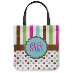 Stripes & Dots Canvas Tote Bag (Personalized)