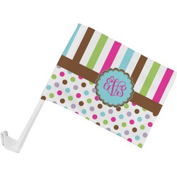 Stripes & Dots Car Flag (Personalized)