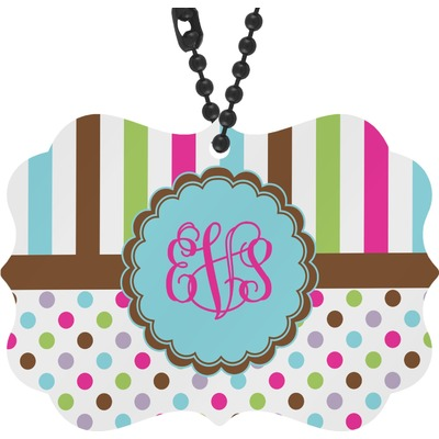 Stripes & Dots Rear View Mirror Decor (Personalized)