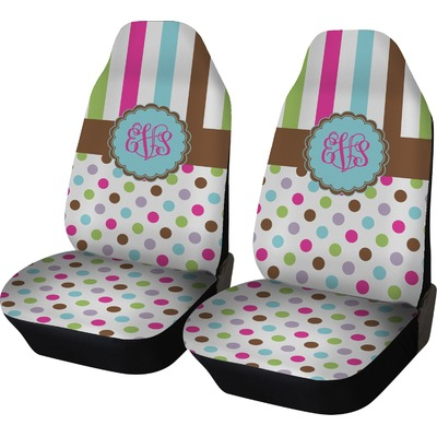 Stripes & Dots Car Seat Covers (Set of Two) (Personalized)