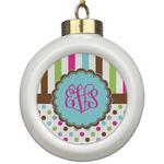 Stripes & Dots Ceramic Ball Ornament (Personalized)