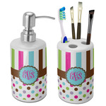 Stripes & Dots Ceramic Bathroom Accessories Set (Personalized)