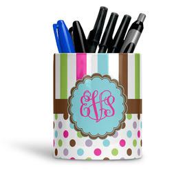 Stripes & Dots Ceramic Pen Holder