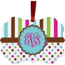 Stripes & Dots Ornament (Personalized)