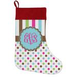 Stripes & Dots Holiday Stocking w/ Monogram