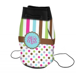Stripes & Dots Neoprene Drawstring Backpack (Personalized)