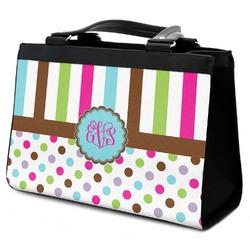 Stripes & Dots Classic Tote Purse w/ Leather Trim (Personalized)