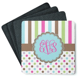 Stripes & Dots 4 Square Coasters - Rubber Backed (Personalized)