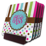 Stripes & Dots Coaster Set w/ Stand (Personalized)
