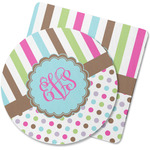 Stripes & Dots Rubber Backed Coaster (Personalized)