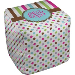 Stripes & Dots Cube Pouf Ottoman (Personalized)