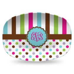 Stripes & Dots Plastic Platter - Microwave & Oven Safe Composite Polymer (Personalized)