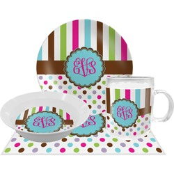 Stripes & Dots Dinner Set - 4 Pc (Personalized)