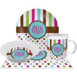 Stripes & Dots Dinner Set - Single 4 Pc Setting w/ Monograms