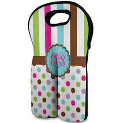 Stripes & Dots Wine Tote Bag (2 Bottles) (Personalized)