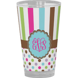 Stripes & Dots Drinking / Pint Glass (Personalized)