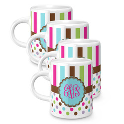 Stripes & Dots Espresso Mugs - Set of 4 (Personalized)